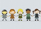 Cute Happy Cartoon Girls