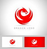image of dragon  - Avstract Dragon Logo Vector in red colors - JPG