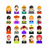stock photo of avatar  - Big set of avatars profile pictures flat icons - JPG