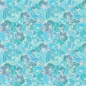 Seamless hand drawn wavy pattern.