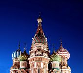 Cathedral Of Basil Blessed In Moscow At Night
