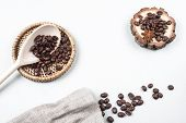 Coffee beans with place for text
