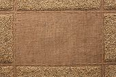 pic of sackcloth  - Beautiful frame with rye on sackcloth with place for your text drawing - JPG