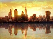 London sunset. View on business modern district