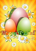 Greeting Card For Easter With Ornament From Eggs And Spring Flowers On Yellow Striped Background.