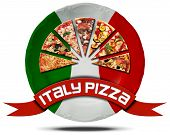 Italy Pizza - Plate With Flag