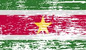 stock photo of suriname  - Flag of Suriname with old texture - JPG