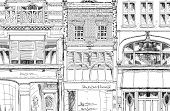 Old English town house with small shop or business on ground floor. Sketch collection