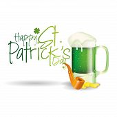 a glass with beer text a smoke pipe and golden coins for patrick's day