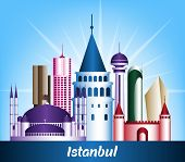 Colorful City of Istanbul Turkey Famous Buildings