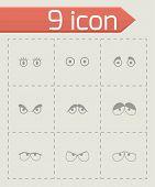 Vector black cartoon eyes icons set