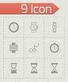 Vector black clock icon set
