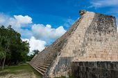 Side Stairway, Mayan Ball Game Field. At Chichen Itza, Traveling Riviera Maya, Mexico Adventure.