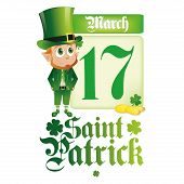an isolated irish elf with a calendar golden coins and text for patrick's day