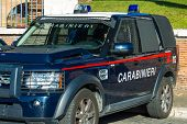 Rome, Italy, January 6 2015 - Cross-country Vehicle Armored Of Carabinieri (italian Police) Parked F