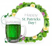 Glass Of Green Beer With Coins And Clover