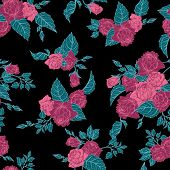Seamless Floral Pattern With Outline Pink Roses