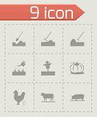 Vector black farming icons set