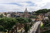 stock photo of emanuele  - Panorama view of Rome from rooftop of Victor Emanuele II Monument - JPG