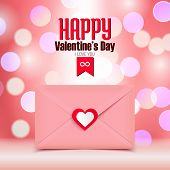 Valentine's Day Vector Illustration, Pink Envelope Isolated On Pink Bokeh Background, Greeting Card