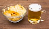 Beer mug with chips of wood