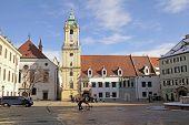Main Square (hlavne Namestie) In Old Town In Bratislava, Slovakia.
