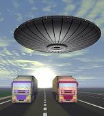 Two Trucks Carrying Cargo Are On The Highway And Round Ufo Over Them.