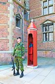 Denmark. Copenhagen. Guard near Rosenborg Castle