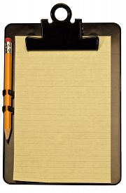 pic of stenography  - Yellow notepad and pencil on black clipboard and isolated on a white background - JPG