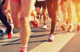 stock photo of foot  - Marathon running race - JPG