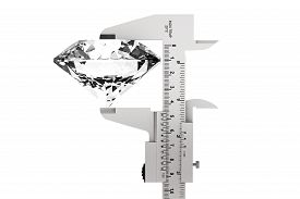 picture of vernier-caliper  - Metal Vernier Caliper with Diamond on a white background - JPG