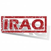 picture of iraq  - Outlined red stamp with country name Iraq - JPG