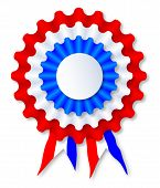 image of rosettes  - A red white and blue rosette over a white backgroun - JPG