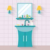 picture of bathroom sink  - Bathroom sink with mirror - JPG