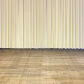stock photo of curtains stage  - Indoor stage with old wooden floor and beige curtain - JPG