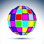 image of psychedelic  - Vector dimensional modern abstract object - JPG