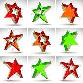 stock photo of pop star  - Set of 3d mesh stars isolated on white background - JPG