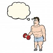 pic of weight lifter  - cartoon man lifting weights with thought bubble - JPG