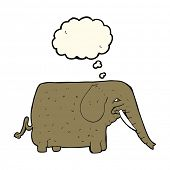 picture of mammoth  - cartoon mammoth with thought bubble - JPG