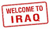 stock photo of iraq  - welcome to Iraq red grunge square stamp - JPG