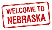 picture of nebraska  - welcome to Nebraska red grunge square stamp - JPG