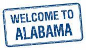 foto of alabama  - welcome to Alabama blue grunge square stamp - JPG