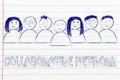 image of collaboration  - happy group of people dedicated to a collaborative network - JPG