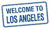 stock photo of blue angels  - welcome to Los Angeles blue grunge square stamp - JPG