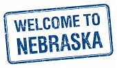 stock photo of nebraska  - welcome to Nebraska blue grunge square stamp - JPG