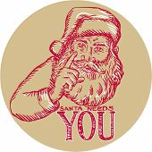 foto of nicholas  - Etching engraving handmade style illustration of santa claus saint nicholas father christmas pointing with words Santa Needs You set inside circle on isolated background - JPG