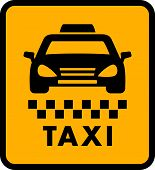stock photo of cabs  - cab car silhouette on yellow taxi icon - JPG