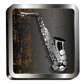 foto of saxophones  - Vector Illustration saxophone etching on a metal bar - JPG