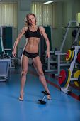 foto of breast-pump  - Girl pumps the major muscle groups in the gym - JPG