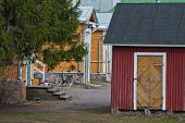 picture of downspouts  - Quiet and cozy courtyard on a warm summer day in the Finnish city of Lappeenranta - JPG